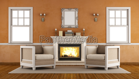 classic fireplace in a retro living