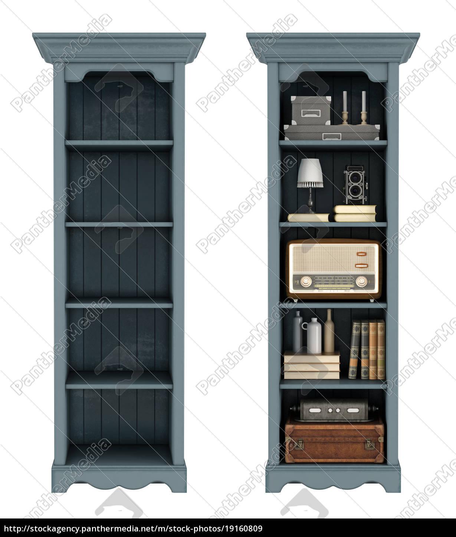 retro, bookcase, on, white - 19160809
