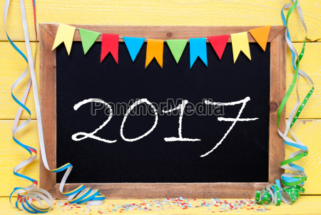 chalkboard, with, streamer, , text, 2017 - 19164417