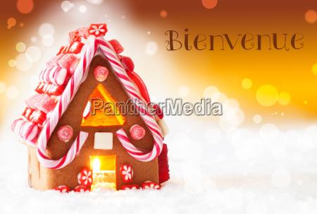 gingerbread, house, , golden, background, , bienvenue, means - 19164419