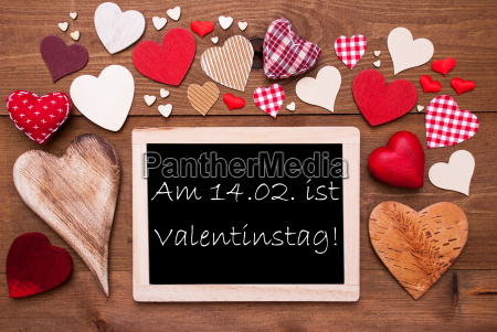 one, chalkbord, , many, red, hearts, , valentinstag - 19164475