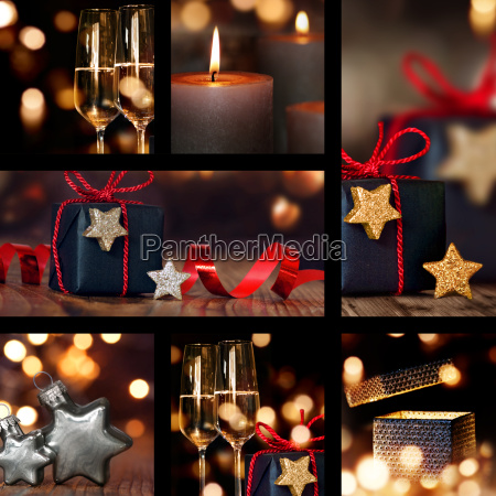 collage of christmas table decorations