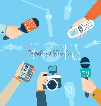 journalism concept vector live news