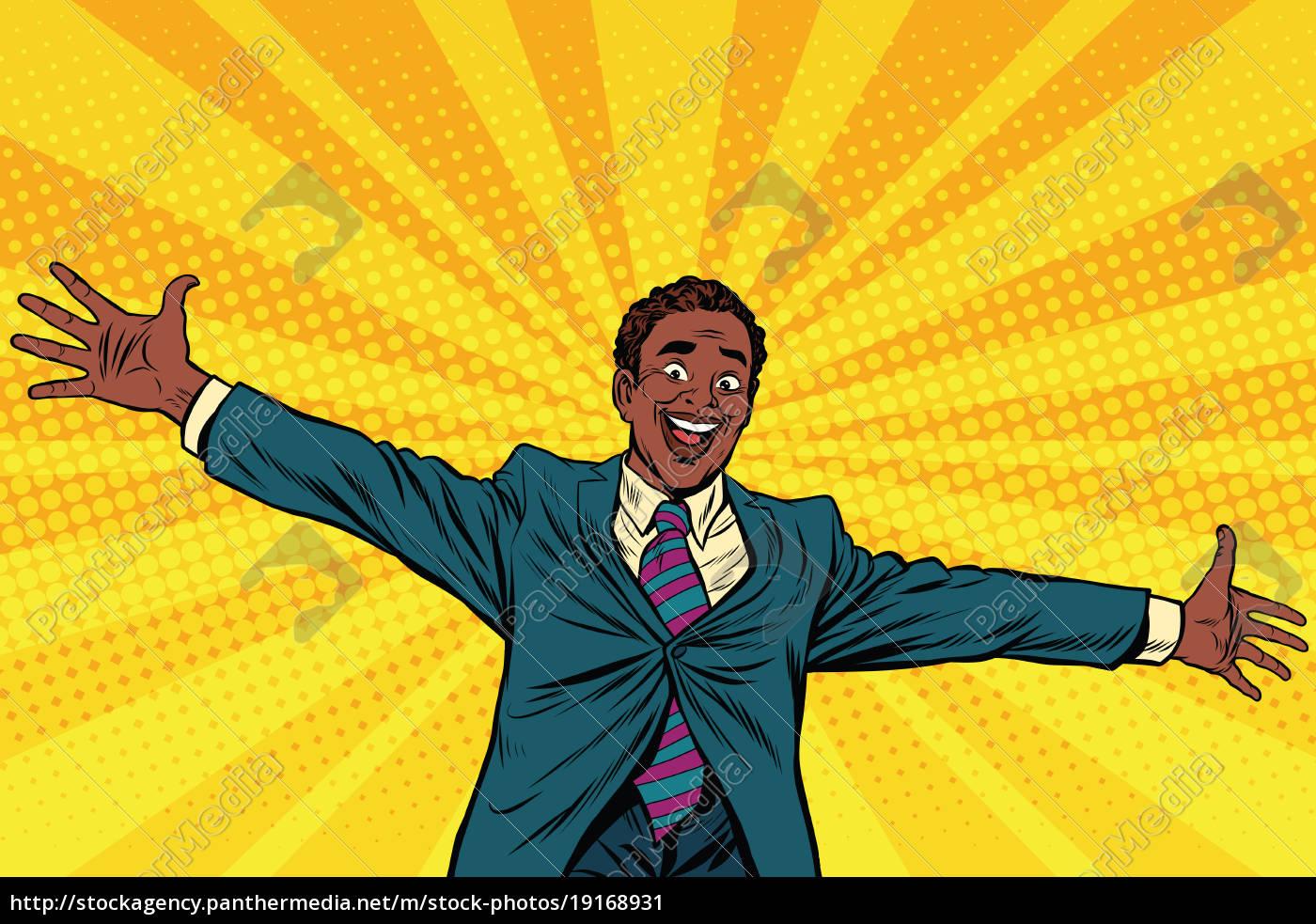 happy, african, american, businessman, open, hands - 19168931