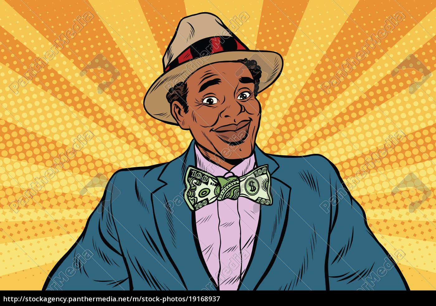 retro, african, american, businessman, with, dollar - 19168937