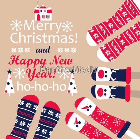 family feet in christmas socks vector