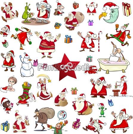 christmas themes cartoon set