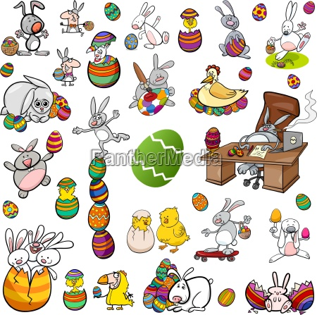 easter characters cartoon set