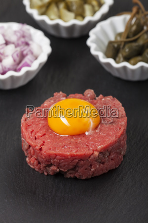 steak tartare with egg yolk