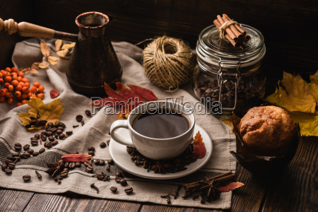 autumn leaves with cup of coffee
