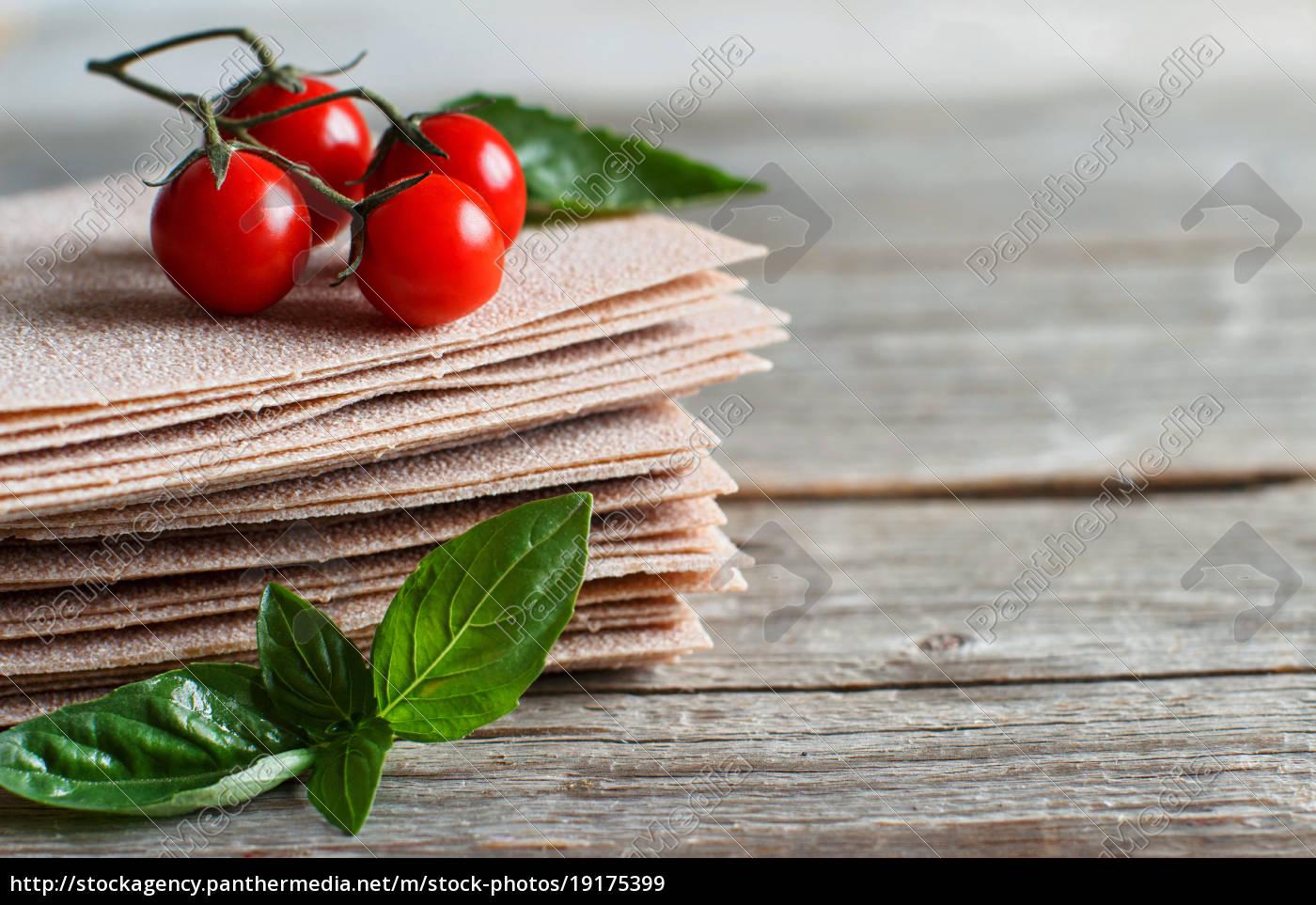 raw, lasagna, sheets, basil, and, cherry, tomatoes - 19175399