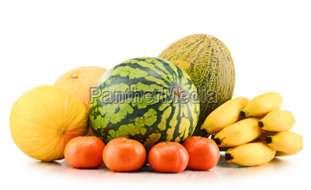 composition, with, assorted, melons, bananas, and - 19179097