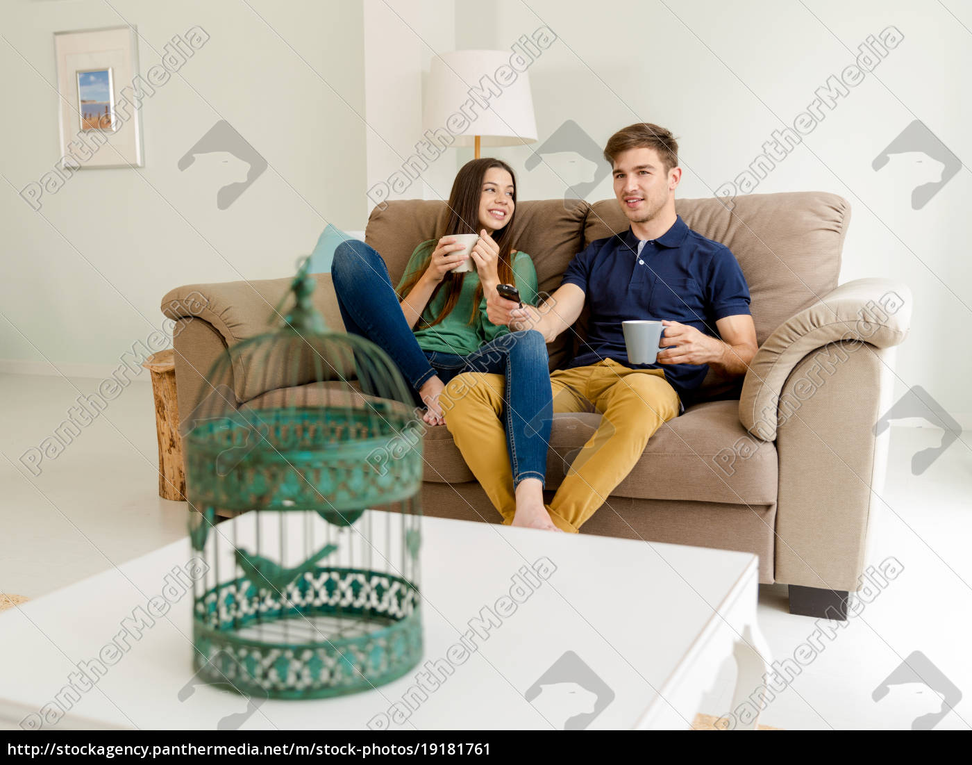 young, couple, drinking, coffee - 19181761