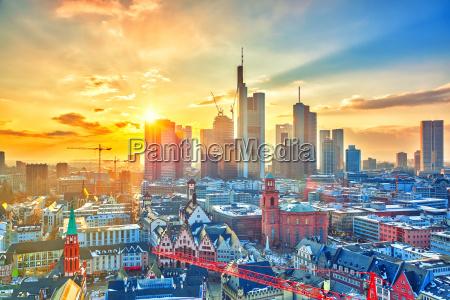 frankfurt at sunset germany