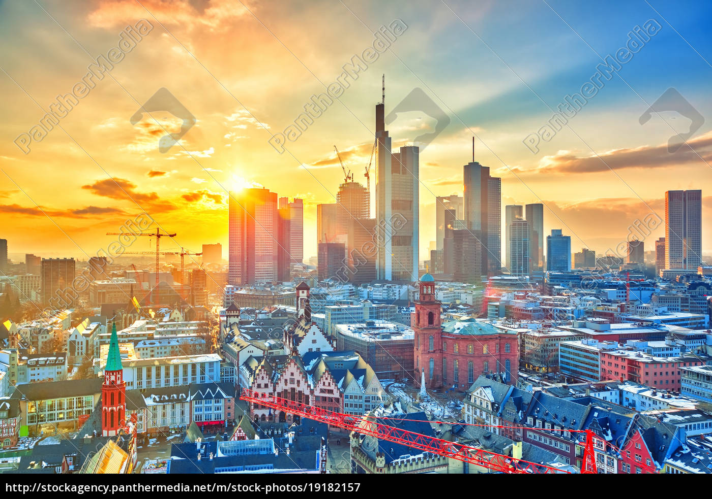 frankfurt, at, sunset, , germany - 19182157