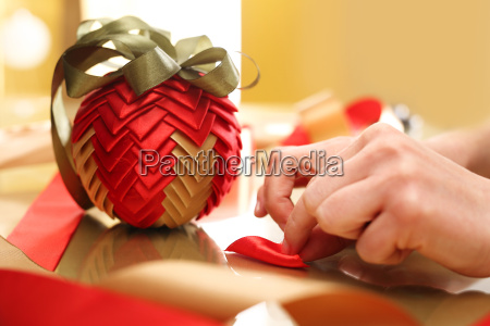 christmas decoration bauble made of ribbon