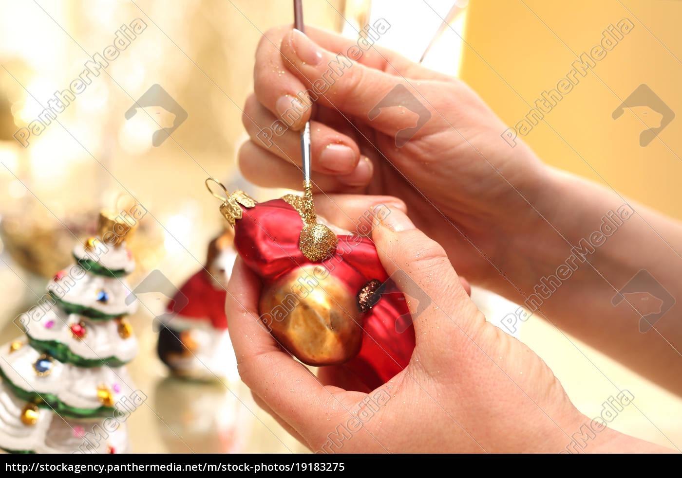 decorating, christmas, balls., brush, woman, paints - 19183275