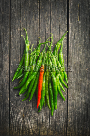 green chili peppers and one red