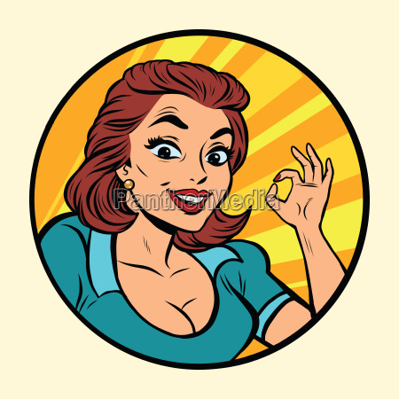 comic, young, beautiful, woman, ok, gesture - 19184891
