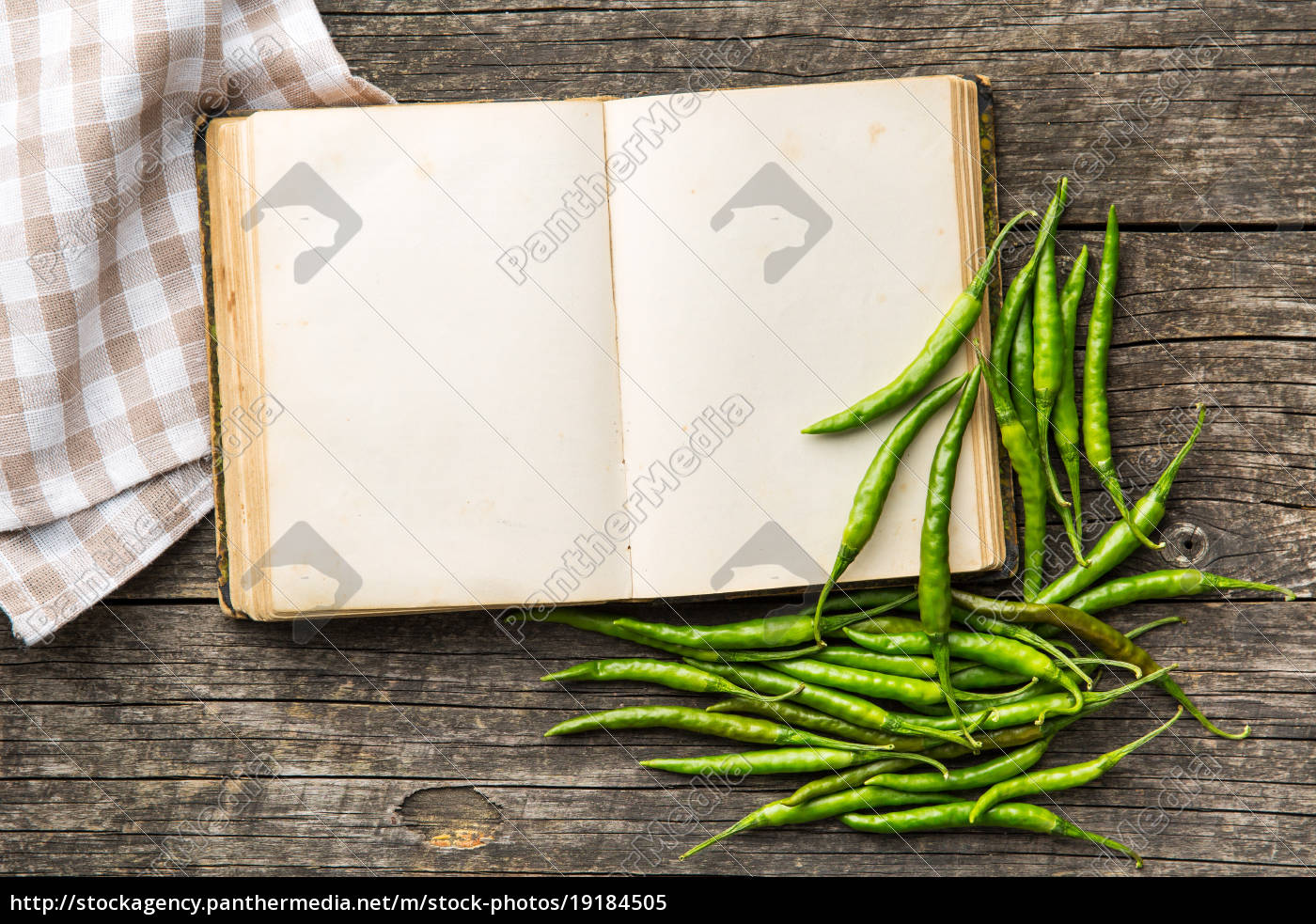 recipe, book, and, green, chili, peppers. - 19184505
