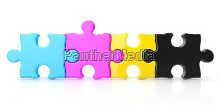 cmyk color puzzle row 3d