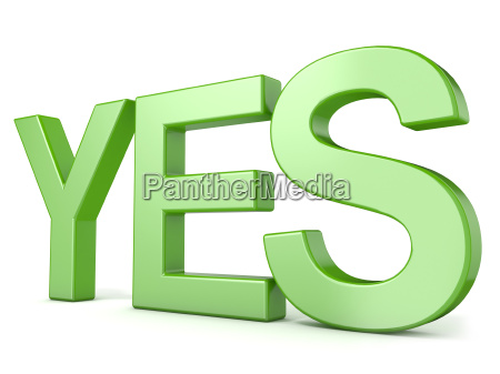 green word yes 3d