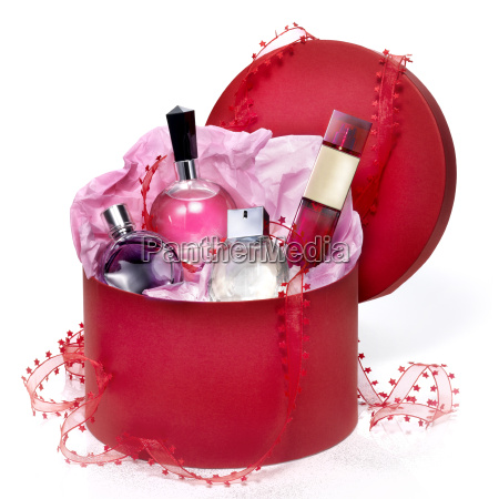 perfumery gift set in a red