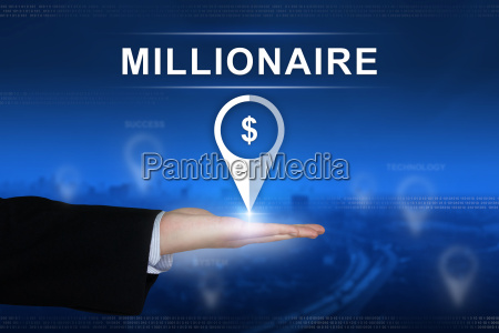 millionaire button on blurred background