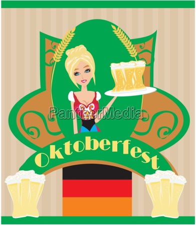 pretty waitress with beer oktoberfest card