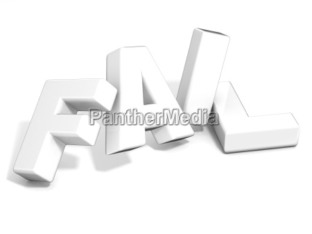 fail concept white letters isolated over
