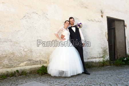 happy young bride and groom in