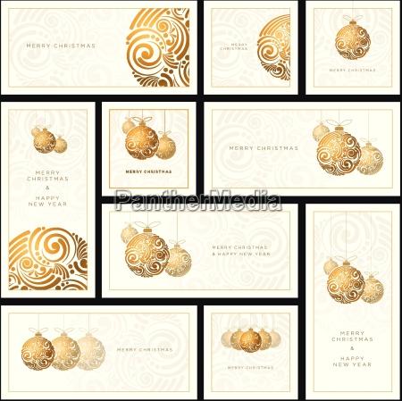 vector christmas white greeting card set