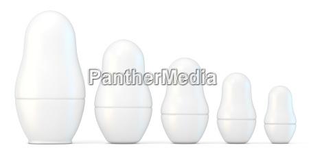 set of white unpainted matryoshka dolls