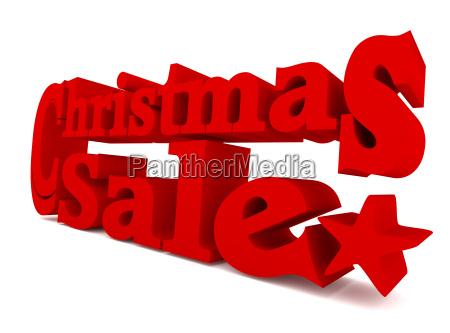big red christmas sale 3d rendering