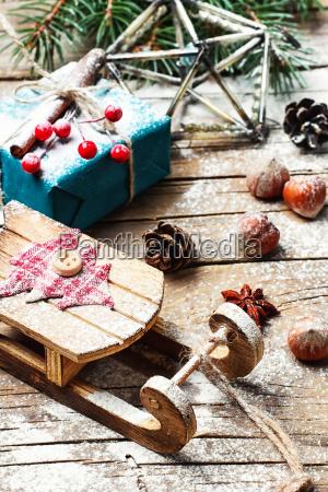 christmas sleigh and gifts