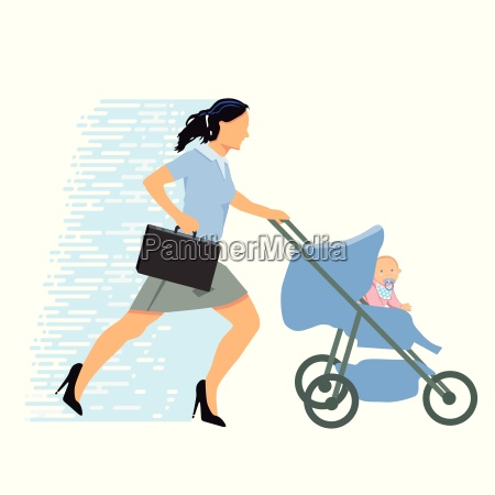 stressed, businesswoman, with, baby - 19209415