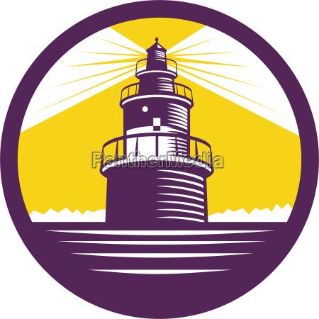lighthouse, circle, woodcut - 19210889