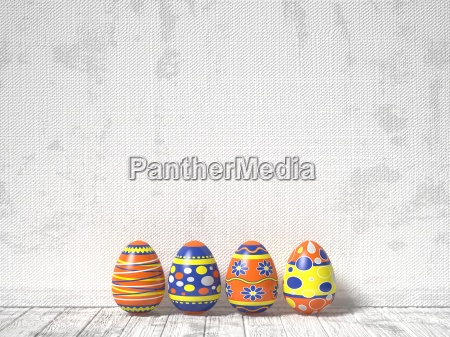 easter eggs painted on white wooden