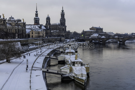 snowy dresden old town
