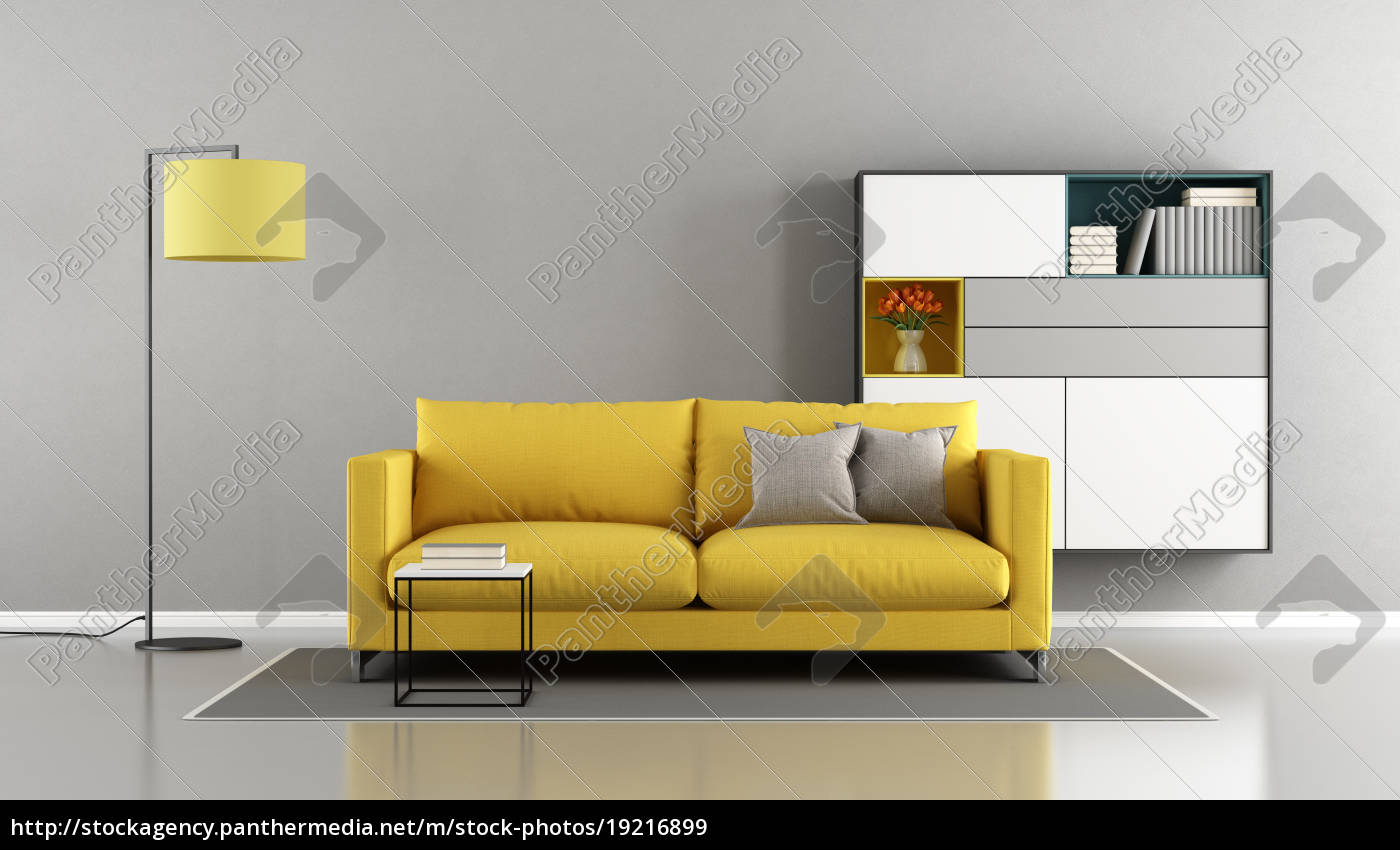 Royalty free image 19216899 - Modern living room with yellow couch