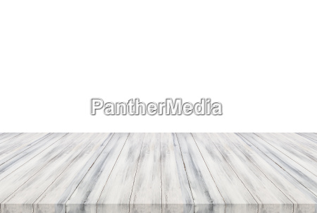 white wooden table top isolated on