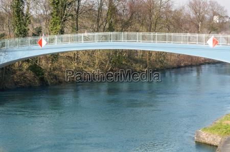 footbridge steel in bogenkunstruktion over the