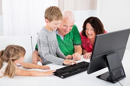 multi, generation, family, using, desktop, together - 19218381