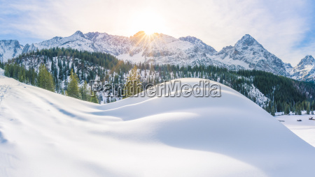 sunny winter day in the alps