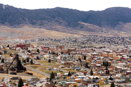 high angle overlook butte montana downtown