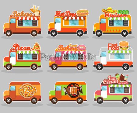 set of vector illustrations food truck