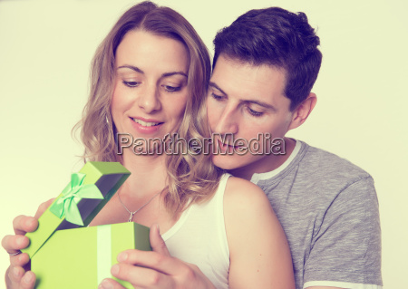 young, beautiful, couple, with, gift, box - 19248773