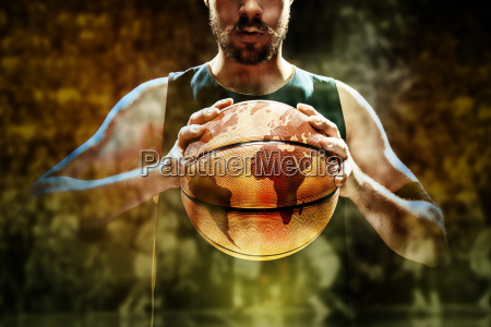silhouette, view, of, a, basketball, player - 19254195