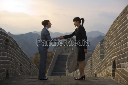 two businesswomen shaking hands at the