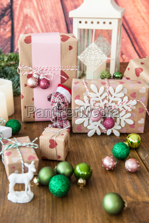 small gifts and christmas decorations